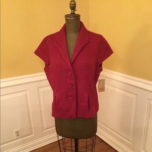 New Coldwater Creek Red Short Sleeve Jacket